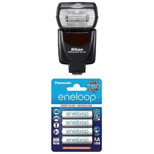 Nikon SB-700 Blitzgerät für Nikon SLR-Digitalkameras + Panasonic eneloop AA NI-MH Akku (1.900 mAh, 4er Pack)