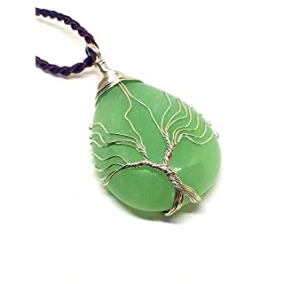 Tree of Life Pendant Necklace Natural Gemstone Green Jade