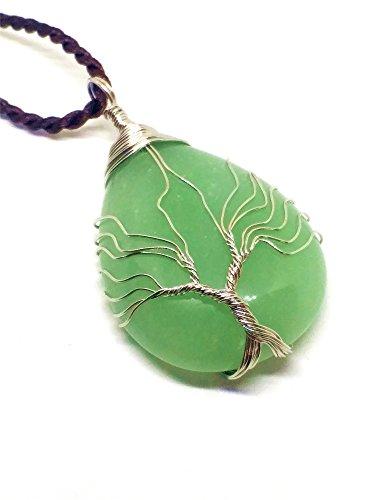 yigedan Collar con Colgante de árbol de la Vida, Piedra Preciosa Natural, Jade Verde