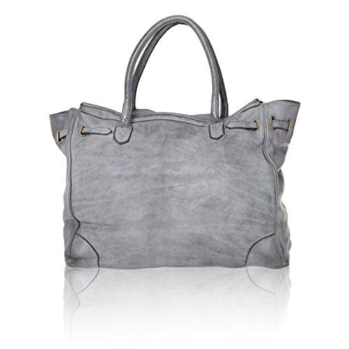 Chicca Borse Vintage Line - Damenhandtasche aus echtem Leder Made in Italy - 37x36x18 Cm Grau