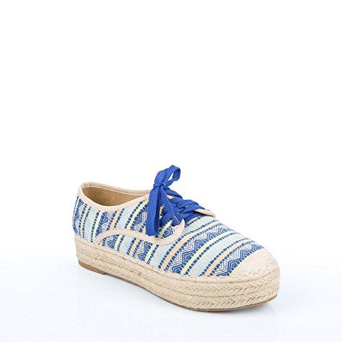 Ideal Shoes Herren-Sportschuhe ausgeglichenen bedruckt, aus jute, Geflecht Touria Blau - blau