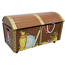 Baúl pirata de madera, caja para almacenaje.