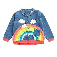 Zerototens Kids Sweater,1-5 Years Old Toddler Infant Baby Boy Girl Long Sleeve Rainbow Print Knitted Sweatshirt Tops Baby Coat Children Warm Knit Cardigan Coat