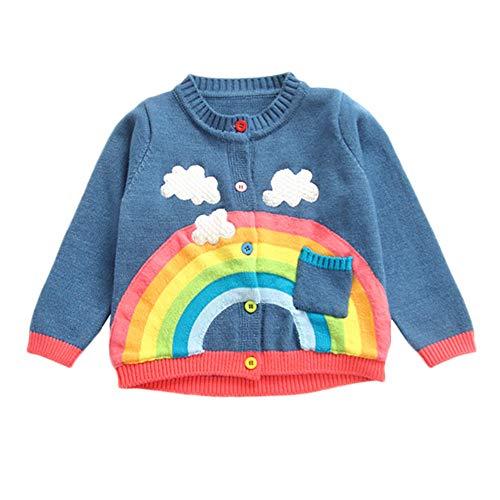 CUTUDE Kleinkind Baby Junge Mädchen Taste Regenbogen Drucken Gestrickt Mantel Herbst Winter Warm Kleinkind Jacke Kapuzenjacke