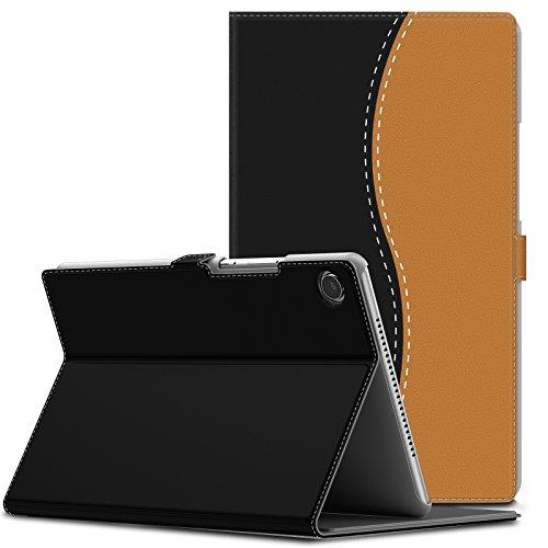 Infiland Huawei MediaPad M5 8.4 Hülle,Slim Ultraleicht PU-Lederne Halten Sie Vorne Schutzhülle Cover für Huawei MediaPad M5 8.4 Zoll Tablet(mit Auto Schlaf/Wach Funktion),Schwarz & Braun