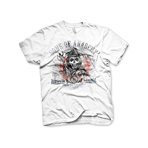 Sons Of Anarchy - Distressed Flag heren unisex T-shirt wit - Televisie merchandise -
