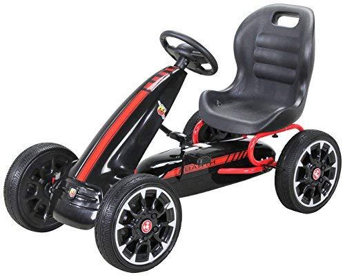 Actionbikes Motors Miweba Gokart Abarth Lizenziert Kinder Pedal Auto Tretauto Kinderfahrzeug Cart Eva Reifen in vielen Farben (Schwarz)