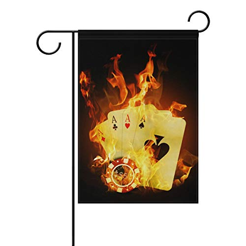 DEZIRO Casino Poker gelb Feuerhofflagge Custom Gartenflagge doppelseitig, Polyester, 1, 12x18(in)