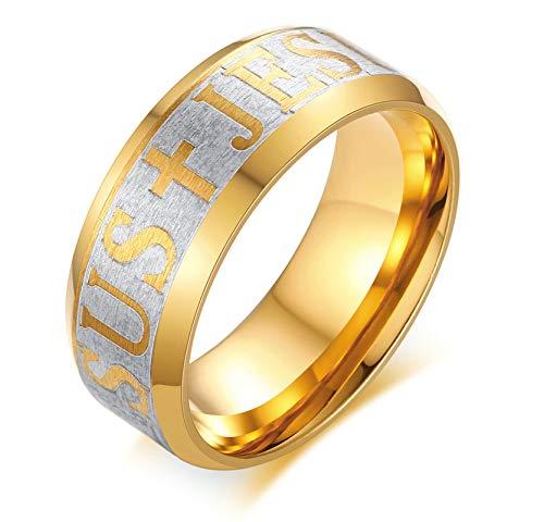 Aienid Edelstahl Ring Breit Jesus Kreuz Gold Hochzeits Ring Für Männer (Männer Gold Ringe Jesus)