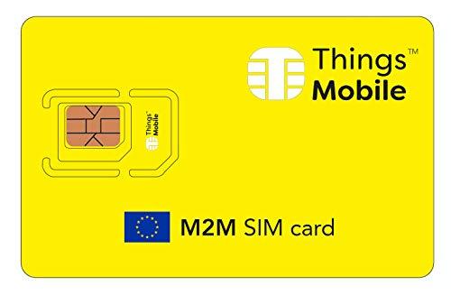 DATEN-SIM-Karte M2M EUROPA - Things Mobile - mit weltweiter Netzabdeckung und Mehrfachanbieternetz GSM/2G/3G/4G. Ohne Fixkosten und ohne Verfallsdatum. 10 € Guthaben inklusive (Europa Für Sim-karten)