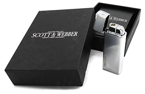 Scott & Webber Gas Sturmfeuerzeug Silber Metall Jetflamme Zigarrenfeuerzeug nachfüllbar #SMART #EASY #ELEGANT
