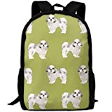 best& Vintage Shih Tzu Fabric Lime Cute Dog Fabric Toy College Laptop Backpack Student School Bookbag Rucksack Travel Daypack