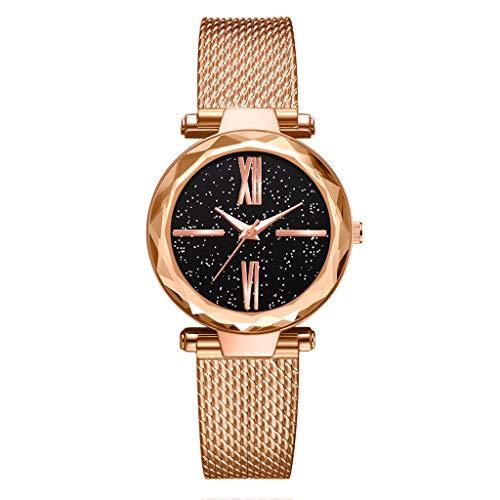 TWISFER Frauen Uhr, Frau Fashion Handgelenk Uhren für Damen Kleid Business Casual Quarz Armbanduhr für Frau mit Edelstahl Mesh Band und Stern-Zifferblatt