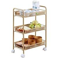Rack di stoccaggio Cucina può muoversi spinta tipo Shelving multistrato Floor Stand bagagli Rack piccolo carrello ( colore : Giallo )