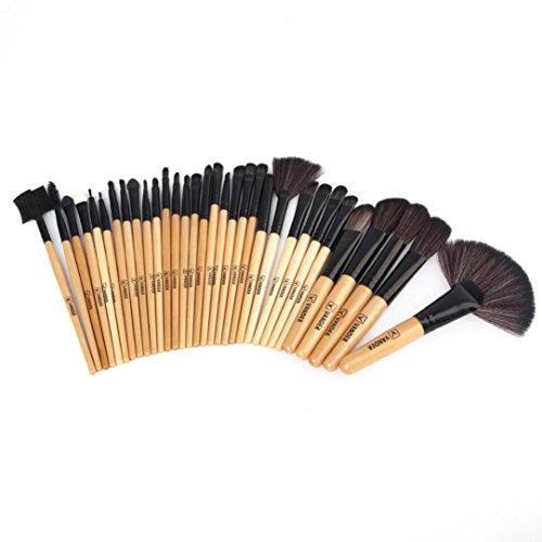 URSING 1 Set / 32 PCS Kit de Mini Pinceau de Maquillage Cosmétique Professionnel Ensembles Outils Pinceau Poudre Fond de teint Makeup Brushes Brosse de maquillage en bois Set maquillage outils cosmétiques brosses de beauté Fondation Eyeshadow Sourcils Lip Brush pinceaux de maquillage outil Brosse de Maquillage outils mis pinceau de maquillage Set de maquillage Trousse de toilette en laine Make Up Brush Set (24 * 15.5 * 5cm (plié), Or)