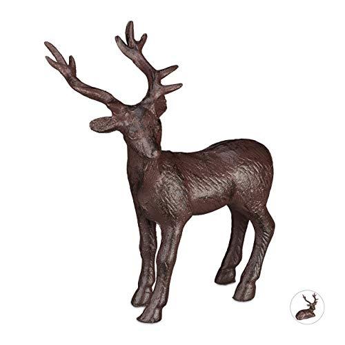 Relaxdays Figura de Ciervo de pie para jardín, Impermeable, Hierro Fundido, Marrón, L
