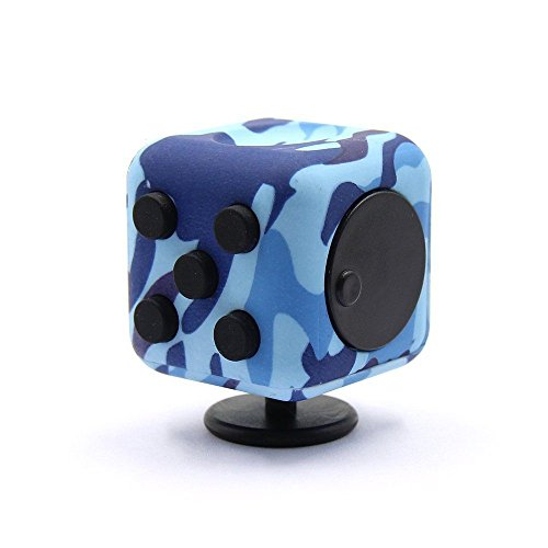 The Black Widow Stress Cube Is A Camouflage Blue Designed To Reduce And Improve Cognitive Performance Fidget Toy Revolution Of
