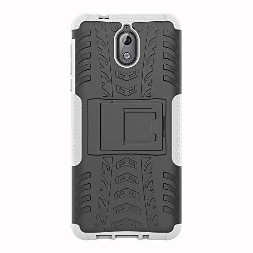 SHIEID Nokia 3.1-Hülle Tough Hybrid Armor Case,Diese Handyhülle Anti-Wrestling Travel Essential Faltbare Halterung für Nokia 3.1(Weiß)