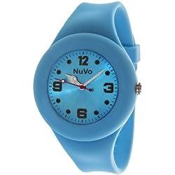 Nuvo - NU13H18 - Unisey Armbanduhr vom Armband abtrennbar - Blaues Zifferblatt - Blaues austauschbares Armband aus Silikon - Modisch - Elegant - Stylish