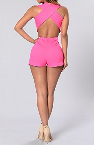 Grenouillères femmes col en V manches Bandage Backless Clubwear Bodycon court Jumpsuit Rose