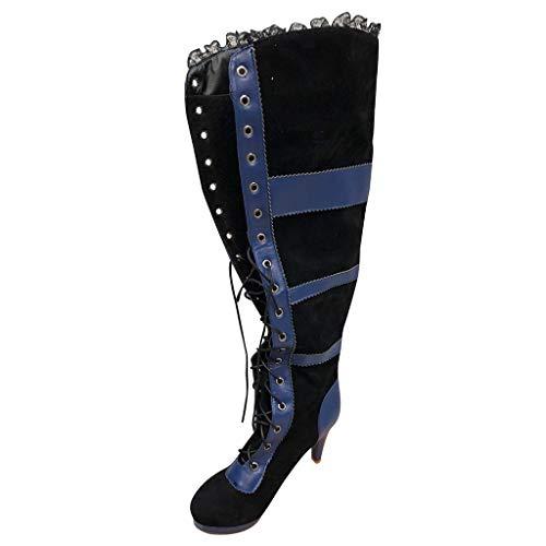 AMUSTER Damen Stiefel Overknees mit Blockabsatz High Heels Overknee Stiefel Lack mit Spitze und Stiletto über Knie Lang Boots Elegante Schuhe -