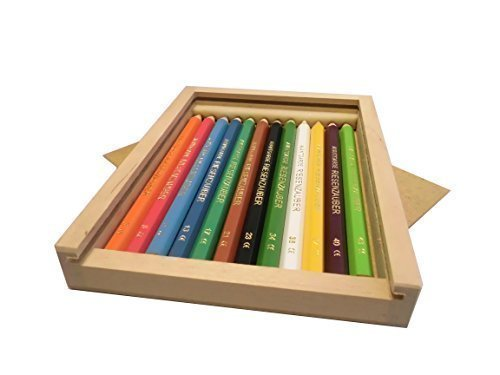Holzschiebebox M gefüllt mit 12 Buntstiften (Avantgarde Riesenzauber, lackiert)