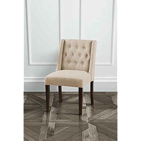 MY-Furniture – HUXLEY – Silla de comedor de color beige, tapizada de alta calidad