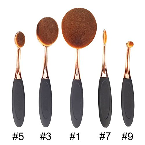 Beauty Kingdom 5pcs Zahn Design Bürste Form Elite oval Make-up Foundation Puder Pinsel Eyeliner Lip ovale Bürste Set Beauty Kosmetik tools-makeup Kit mit Fall Box (Kit Make-up-tools)