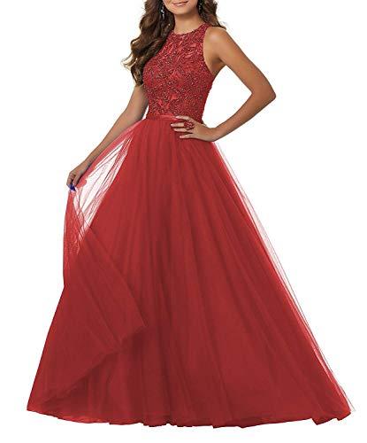 JAEDEN Vestito da Sera Lungo Abiti da Ballo Donna Vestito da Partito Pizzo Tulle Halterneck Rosso EUR58