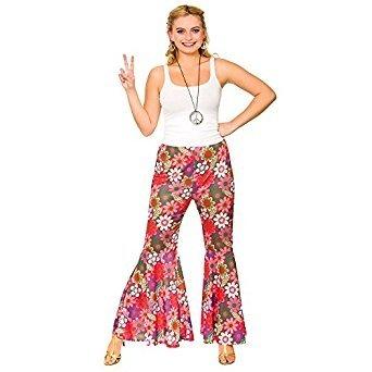 (Ladies Pink Flower Power Hippie Pants Fancy Dress Item)