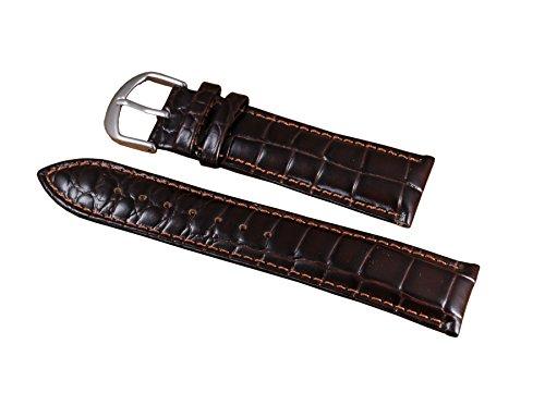 16mm dunkelbraun schwärzlich Luxus anständig Patent Frauen Lederarmbänder echten italienischen Kalbsleder Alligator orangen Nähten geprägt (Patent Alligator)