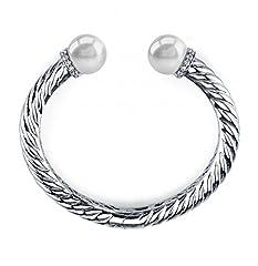 Idea Regalo - 11 perle d'acqua dolce bianche & Bracciale con cristalli