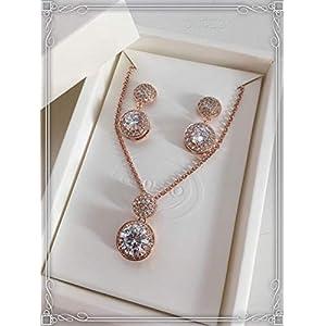 ONDEGO SET Armband ZIRKONIA Strass Brautschmuck rosegold Schmuckset Hochzeit Ohrringe Kette dezent schlicht elegant rund