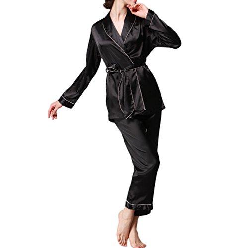 Nanxson(TM) Pyjama Vêtement De Nuit Soie Pour Femmes SYW0025 Noir