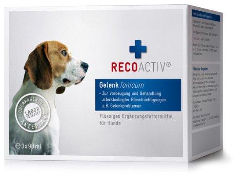 RECOACTIV Gelenk Tonicum für Hunde – Kurpackung 3×90 ml – getreidefrei – mit Grünlippmuschel (Glucosamin, Chondroitin), Teufelskralle, Weidenrinde & Schachtelhalm, Inhaltsstoffe in Humanqualität, deutsches Produkt