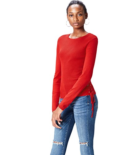 find. Pull Fin Femme, Rouge (Classico Red), 38 (Taille Fabricant: Small)