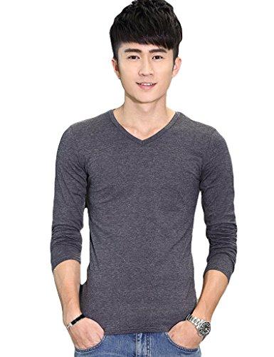 Bestgift Herren Baumwolle einfarbig Basic Langarm T-Shirt Bluse Dark Grau2