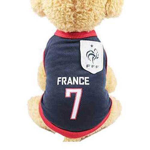 Deaman Hund Latzhose Hundepullover Sungpunet Hunde-Kostüm für kleine und große Hunde, atmungsaktiv, Fußball-Fan, Frankreich, Größe XL Weich Waschbare (Fußball Kostüm Für Hunde)