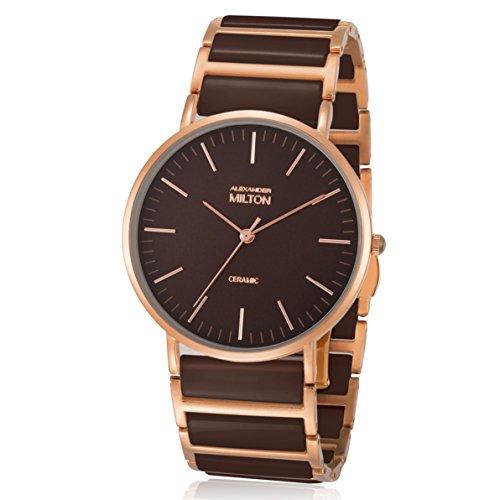 ALEXANDER MILTON - montre femme - CERES, marron/dore rose