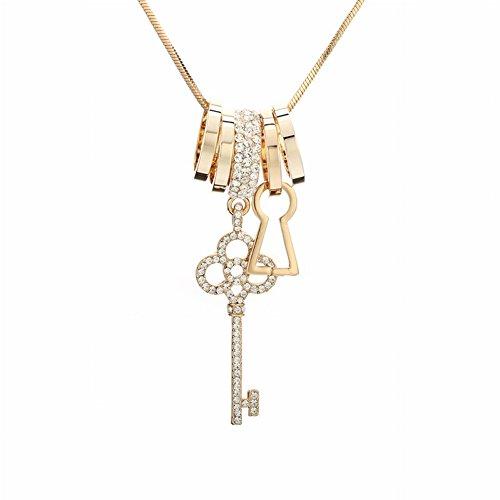 Schlüssel-Ohrringe Legierungs-Diamant-Ring-Strickjacke-Ketten-Schmucksache-Satz für Frauen , Gold - Gold Ring-sätze Diamant-hochzeit