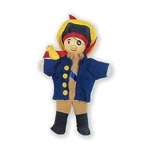 Fiesta Crafts - Marionnette à Doigt Bois et Tissu - Marionnette à Doigt Pirate Bleu