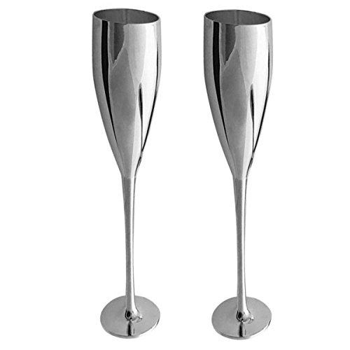 Sektkelche Sektflöten 2 tlg Silber Plated versilbert Champagnerflöten Silberne Sektgläser