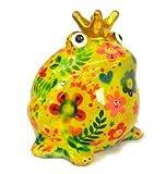 Pomme Pidou Spardose Frosch mit Herzen, Blumen oder Vogelmotiv Design Spardosen Greenline aus Keramik (Blume hellgrün)