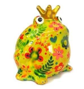 Pomme Pidou Spardose Frosch mit Herzen, Blumen oder Vogelmotiv Design Spardosen Greenline aus Keramik (Blume hellgrün) (Spardose Frosch)