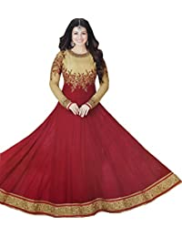 Exotic India Golden And Red Ayesha Designer Anarkali Suit With Floral-Embroidery And Crystals