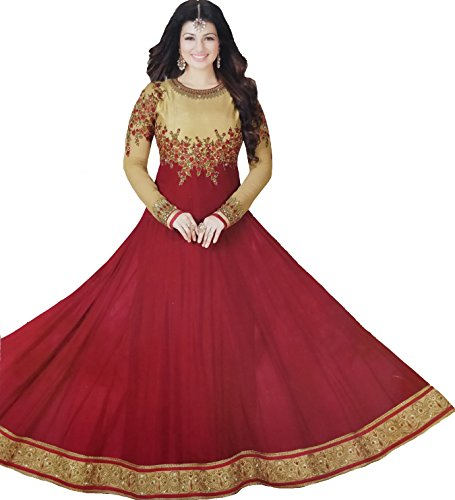 Exotic India Golden and Red Ayesha Designer Anarkali Suit with Floral-Embroidery and CrystalsGarment Size 44