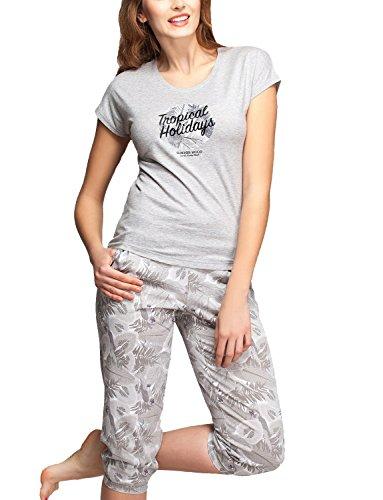 Rossli SAL-PY1015 Confortable Subtil Pyjama Femmes Manches Courtes Jambes 3/4 gris clair