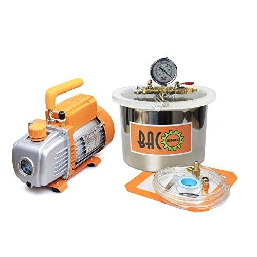 BACOENG 6.8L Vakuumkammer mit 3CFM Einstufige Vakuumpumpe Unterdruckpumpe mit Manometer HVAC Test
