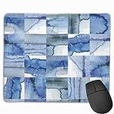 ASKSWF Tapis de souriss for Computers,Novel Blue White Cobalt Watercolor Tiles Print Print Tapis de Souris Non Slip Rubber Backing Gaming Tapis de Souris Cute 25X30 cm