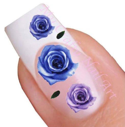 Fleur bleu et violet pour ongles décalques à l'eau - Transfert Décalque à l'eau, tatoo